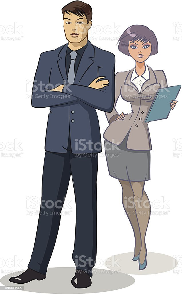 business woman standing. royalty-free stock vector art