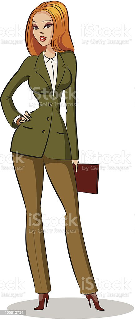 business woman standing vector art illustration