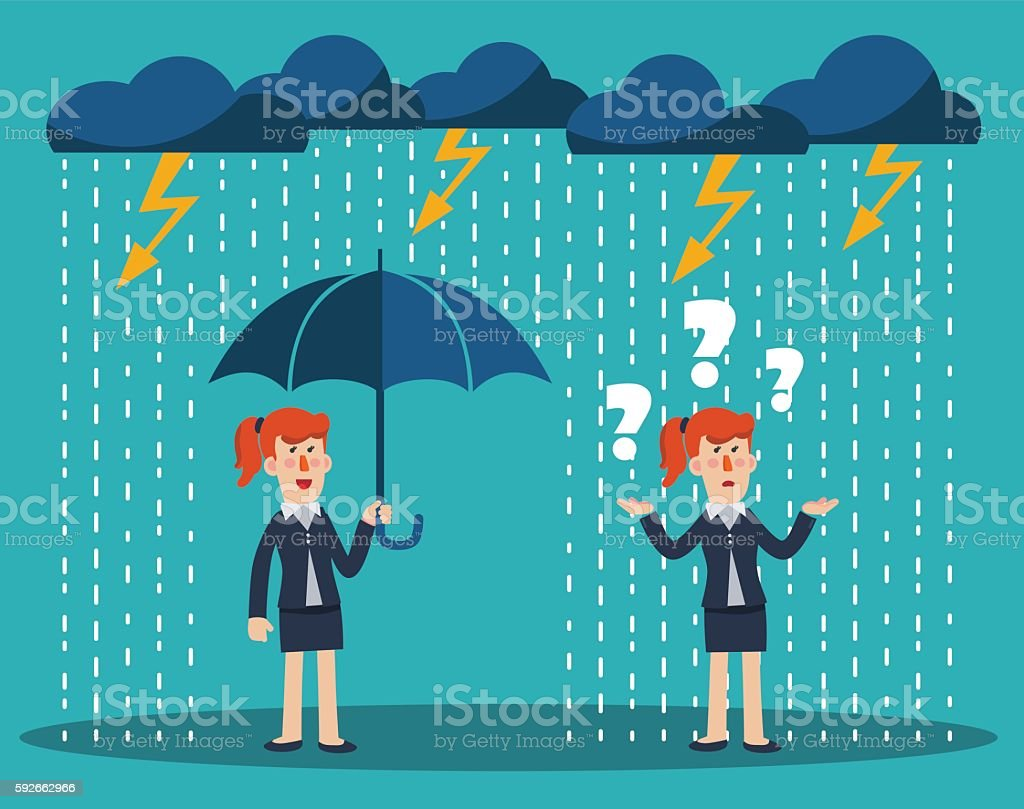 Business woman standing with umbrella under thunderstorm vector art illustration