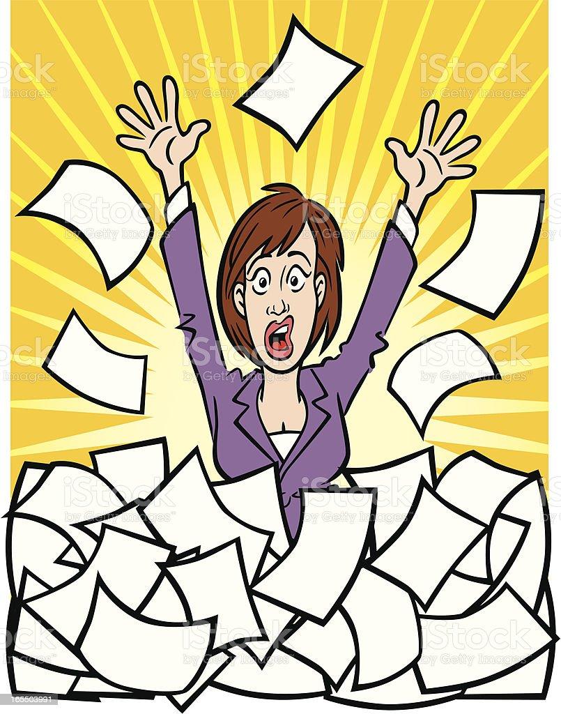 Business Woman Stuck in Paperwork royalty-free stock vector art