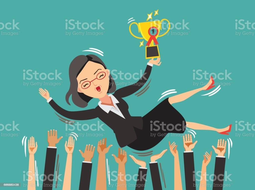 Business Woman Success vector art illustration