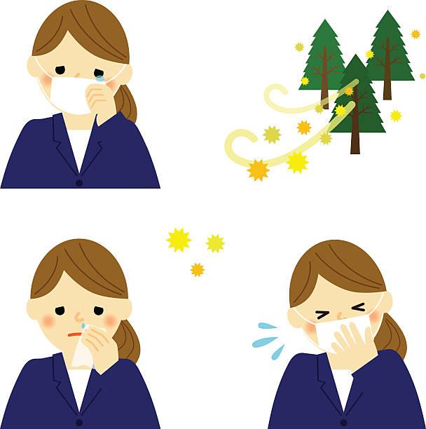 ビジネスの女性の悩みの花粉アレルギー - 花粉点のイラスト素材/クリップアート素材/マンガ素材/アイコン素材