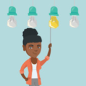 African-american business woman switching on hanging idea light bulb. Young cheerful business woman pulling a light switch. Business idea concept. Vector cartoon illustration. Square layout.