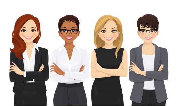 illustrazioni stock, clip art, cartoni animati e icone di tendenza di set di team di donne d'affari - business woman