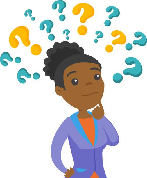ilustraciones, imágenes clip art, dibujos animados e iconos de stock de mujer de negocios pensando en signos de interrogación - africano americano