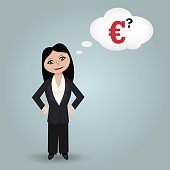Business woman think  about euro crisis on white background.
