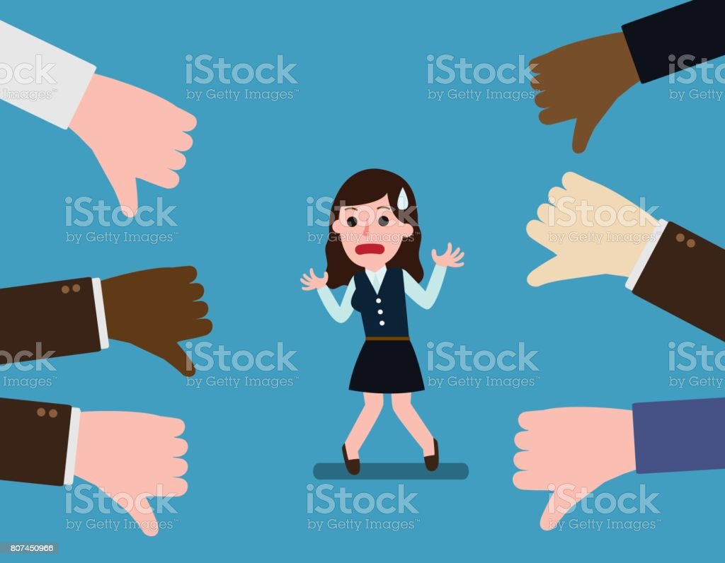 Business woman thumps down. Unsuccessful. Negative feedback conceptual.  Colleagues dislike. concept of not accepted vector art illustration