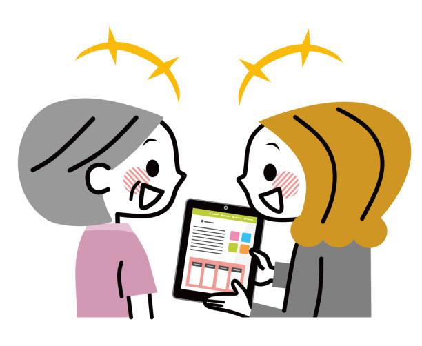 ilustrações de stock, clip art, desenhos animados e ícones de a business woman to explain with a tablet pc. - senior business woman tablet