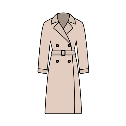Business Woman Trench Icon. Editable Outline With Color Fill Design. Vector Illustration.