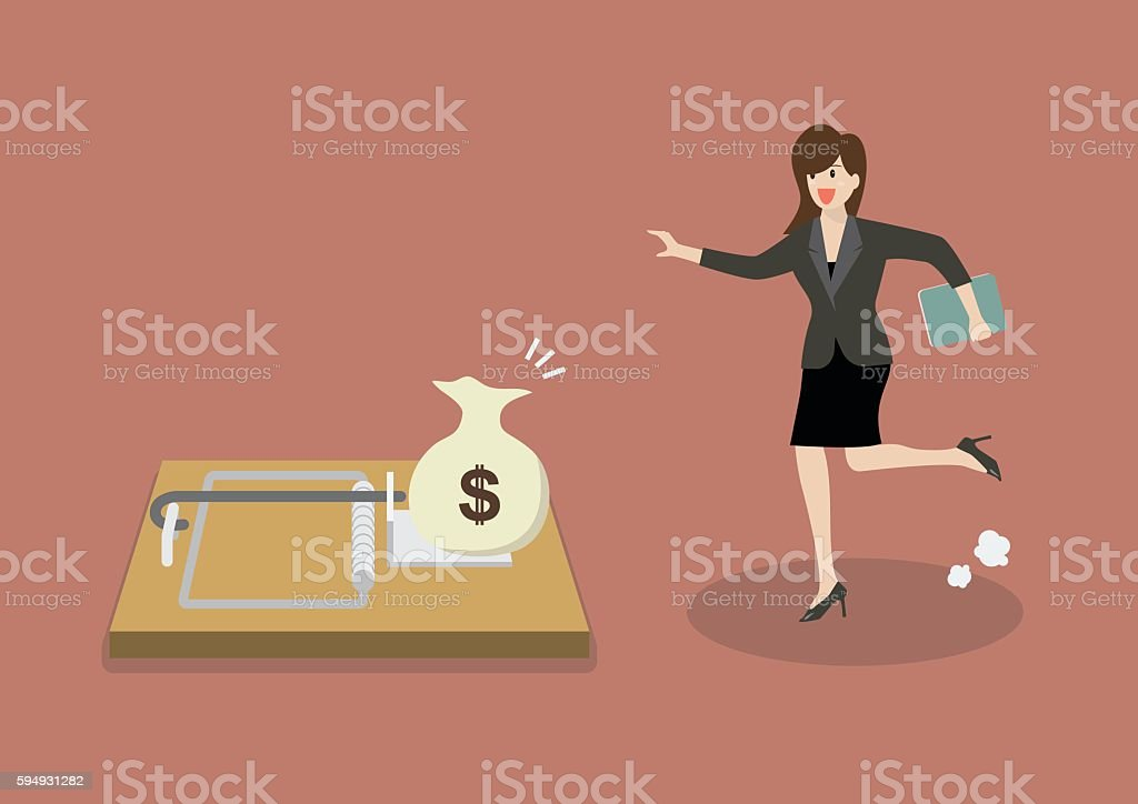 Business woman try to pick money from mousetrap vector art illustration
