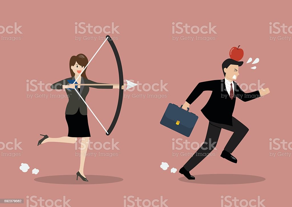 Business woman try to shoot at apple on colleague head vector art illustration