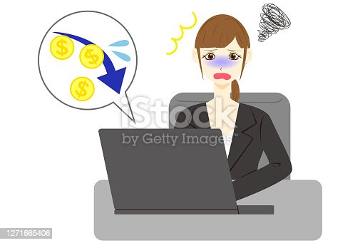 Business woman using computer.  Dollar arrow down rate decrease price value finance.
