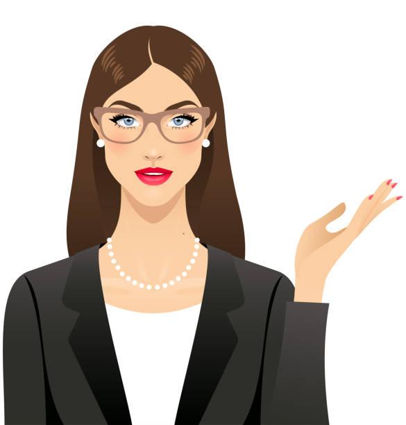 ilustraciones, imágenes clip art, dibujos animados e iconos de stock de mujer de negocios - cabello castaño