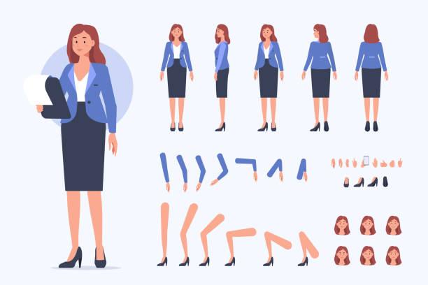 illustrazioni stock, clip art, cartoni animati e icone di tendenza di donna d'affari - ritratto in ufficio