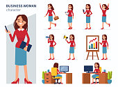 Business woman character in different poses. Flat style vector illustration isolated on white background.