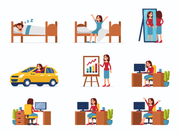 business woman Business woman work day scenes. Flat style vector illustration isolated on white background. tired woman stock illustrations