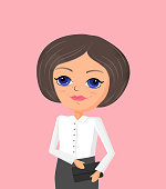 Business woman vector illustration in cartoon style