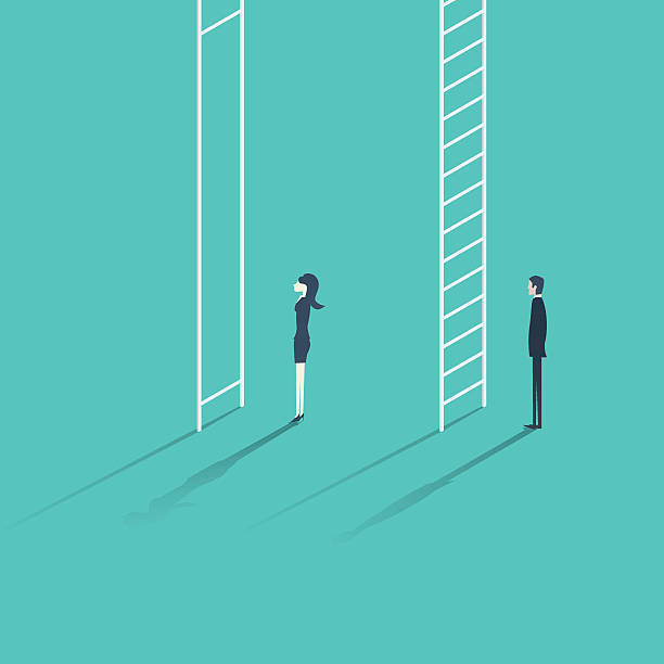 Business woman versus man corporate ladder career concept vector illustration vector art illustration
