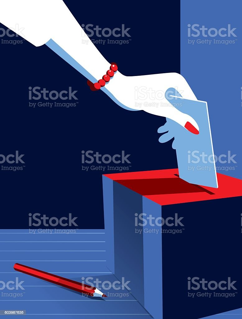 Business Woman Voting at the Ballot Box vector art illustration
