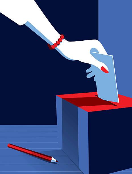 business woman voting at the ballot box - ballot stock illustrations