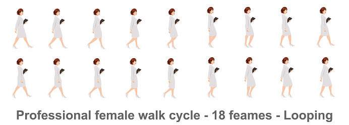 Business Woman Walk cycle