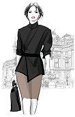 Business woman walking in front of Opera, Paris