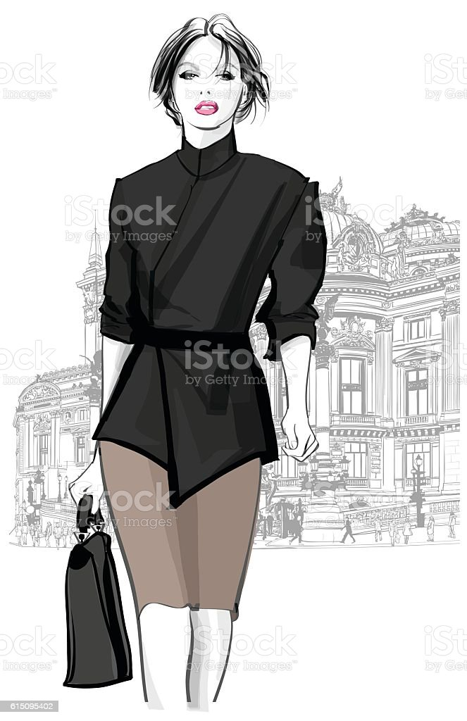 Business woman walking in front of Opera, Paris - ilustración de arte vectorial