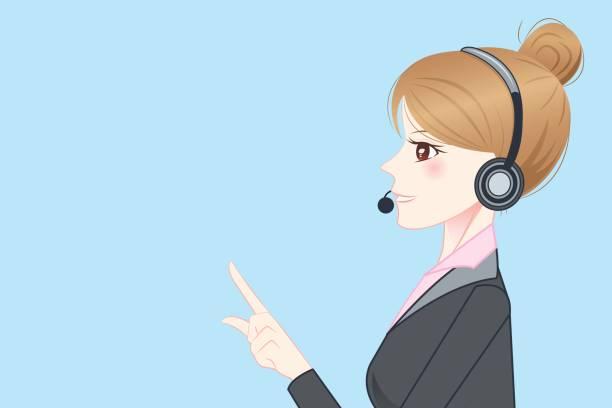 ビジネス女性の摩耗の携帯電話ヘッドセット - オペレーター 日本人点のイラスト素材/クリップアート素材/マンガ素材/アイコン素材