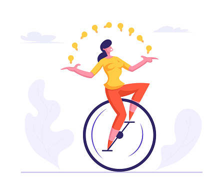 Business Woman Wearing Casual Suit Riding Monowheel Juggling with Glowing Light Bulbs. Businesswoman Character Racing in Leadership Competition. Finance Creative Idea Cartoon Flat Vector Illustration