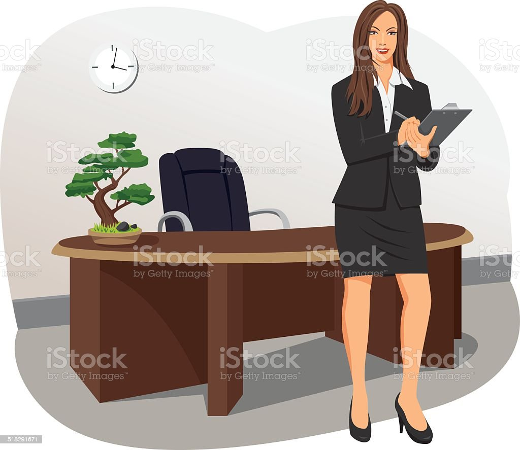 Business woman with a clipboard vector art illustration