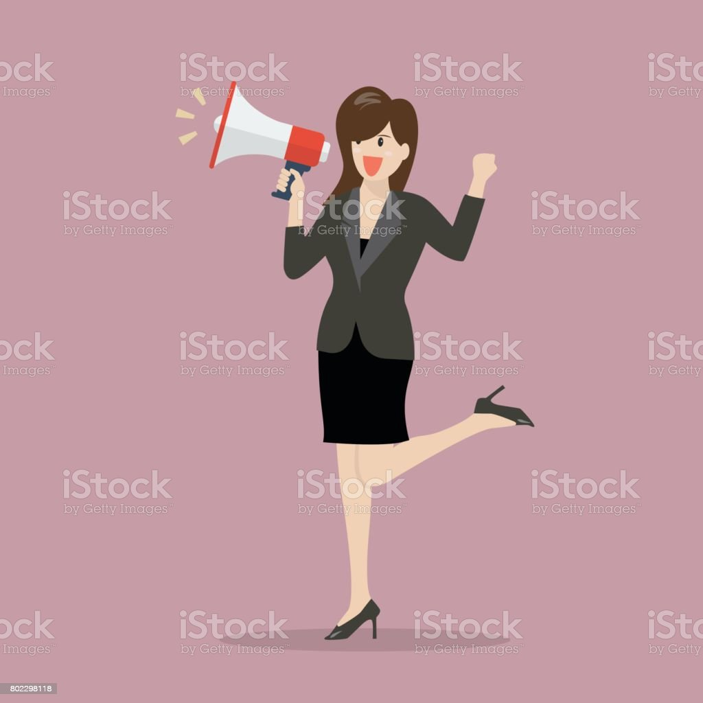 Business woman with a megaphone vector art illustration