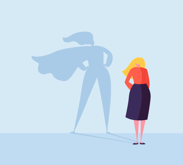 Business Woman with a Super Hero Shadow. Female Character with Cape Silhouette. Businesswoman Leadership Motivation Concept. Vector illustration Business Woman with a Super Hero Shadow. Female Character with Cape Silhouette. Businesswoman Leadership Motivation Concept. Vector illustration confidence stock illustrations