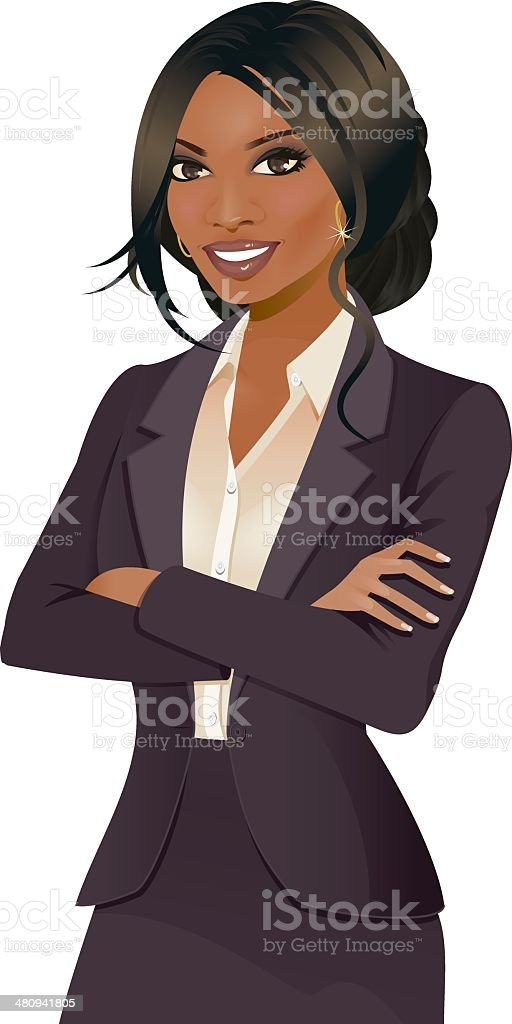 Business woman with arms folded vector art illustration