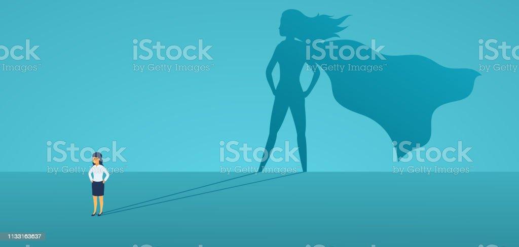 Business woman mit großem Schatten-Superheld. Supermanager-Führer im Geschäft. Erfolgskonzept, Führungsqualität, Vertrauen, Emanzipation. Vector Illustration flacher Stil. - Lizenzfrei Aktivitäten und Sport Vektorgrafik