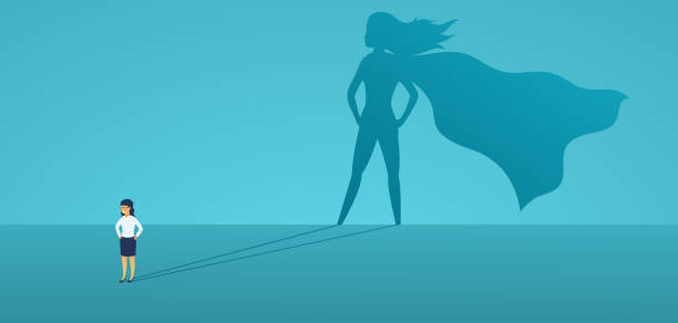 ilustrações de stock, clip art, desenhos animados e ícones de business woman with big shadow superhero. super manager leader in business. concept of success, quality of leadership, trust, emancipation. vector illustration flat style. - business woman