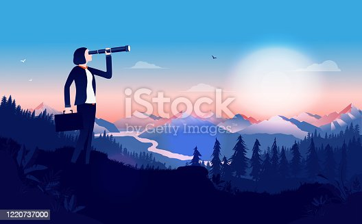 istock Business woman with binocular searching for opportunities 1220737000