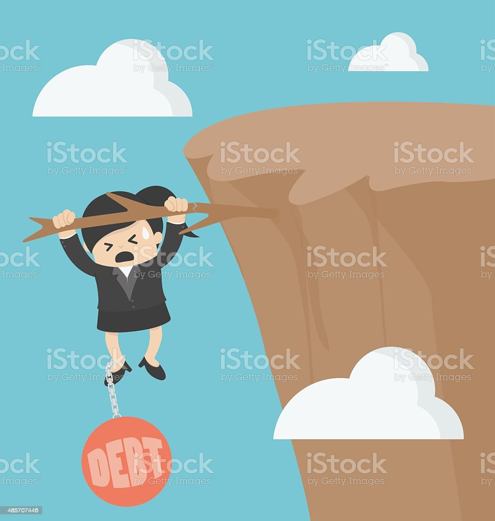 Business woman with debt vector art illustration