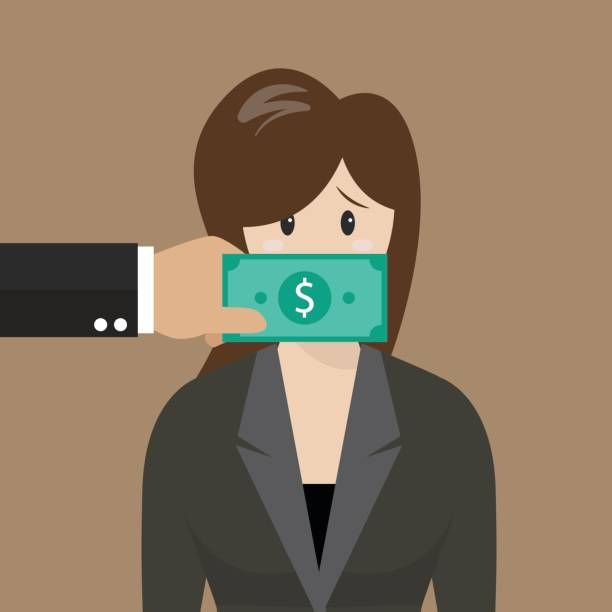 business woman with dollar banknote taped to mouth - evil money stock illustrations, clip art, cartoons, & icons