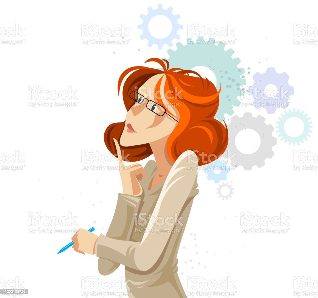 Business Woman With Gear Cogs System Vector Cartoon Illustration Isolated On White Thinking And Analyzing Lady Manager Boss Smart Attractive Female Stock Illustration Download Image Now Istock