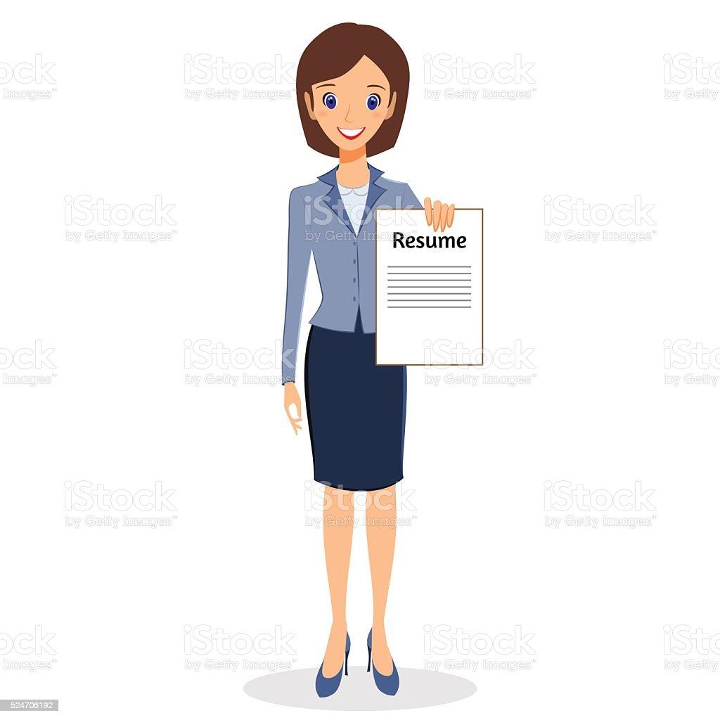 Ilustración de Mujer De Negocios Vector De De Caracteres De Reanudar ...