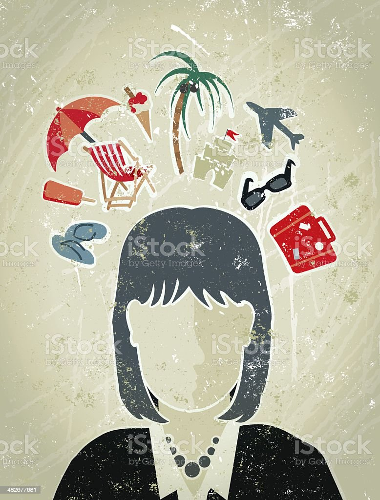 Business Woman with Vacation Icons Surrounding her Head vector art illustration
