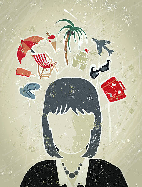 business woman with vacation icons surrounding her head - travel agent stock illustrations, clip art, cartoons, & icons
