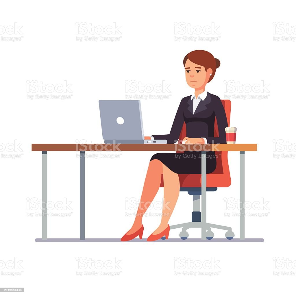 Business woman working at her clean office desk vector art illustration