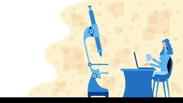 ilustraciones, imágenes clip art, dibujos animados e iconos de stock de mujer de negocios que trabaja para la ciencia y el análisis con un icono de microscopio - zoom meeting