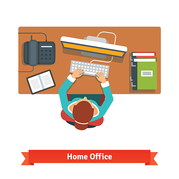 business woman working hard sitting at the desk - work from home stock illustrations