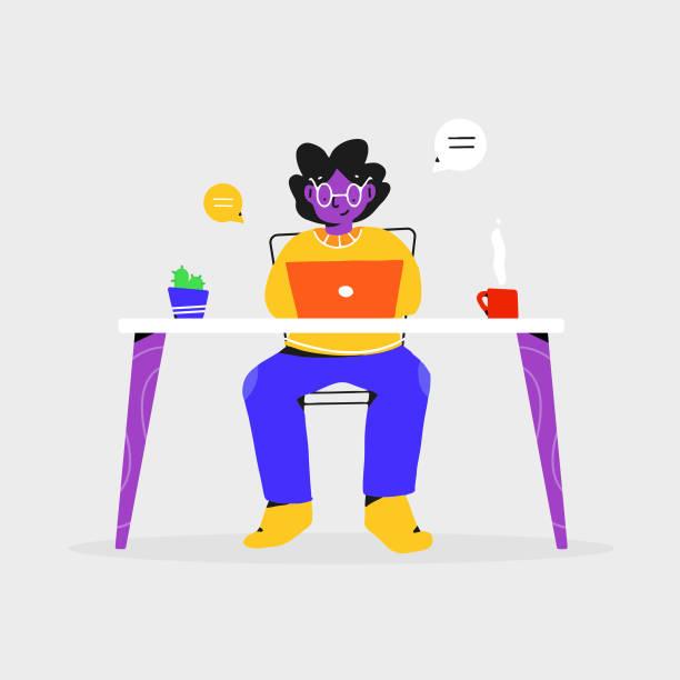 ilustrações, clipart, desenhos animados e ícones de mulher de negócios trabalhando em design plano de computador. projeto de vetor de trabalho remoto. - entrepreneurship
