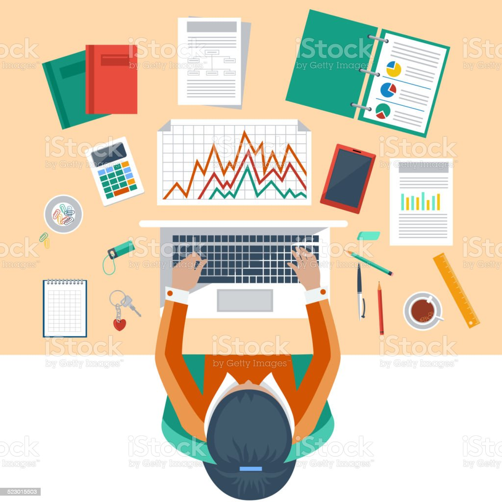 Business woman working with laptop and documents stock for The craft of research audiobook