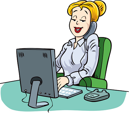 Business woman working with laptop and talking on  phone.