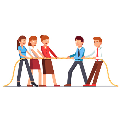 Business women and men teams in a tug of war. Flat vector clipart illustration