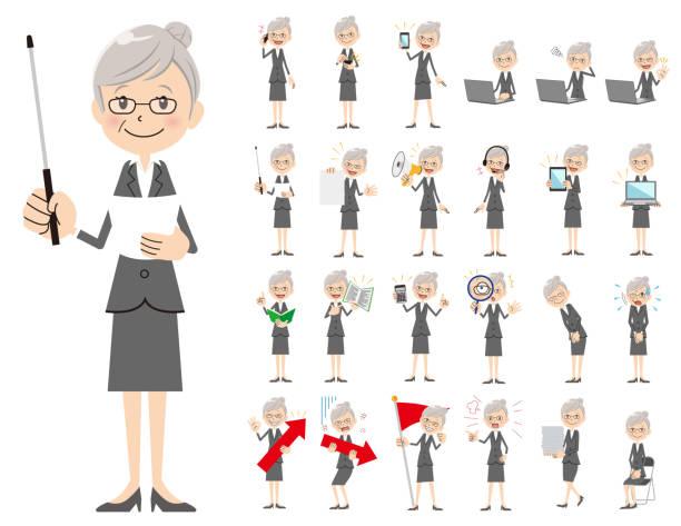 ilustrações de stock, clip art, desenhos animados e ícones de business women charactor set. presenting in various action. - senior business woman tablet